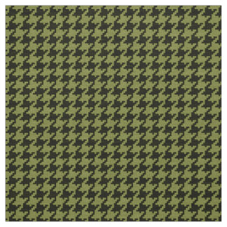 Army Green and Black Houndstooth Geometric Pattern Fabric