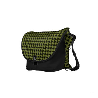 Army Green and Black Textured Houndstooth Pattern Courier Bags