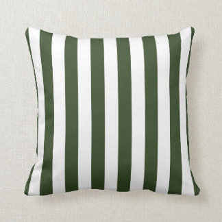 Army Green and White Stripes Pillow