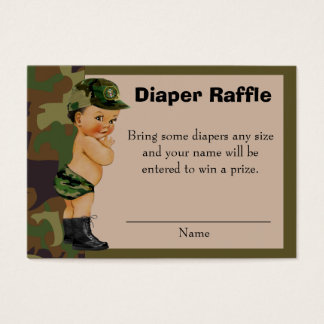 Army Green Camouflage Diaper Raffle Insert
