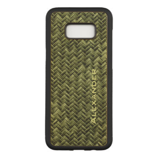 : Army Green Faux Basket Weave Pattern Carved Samsung Galaxy S8+ Case