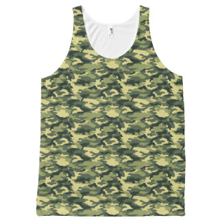 Army Green Military Camouflage Print All-Over Print Singlet