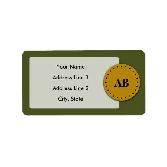 Army green monogram design label