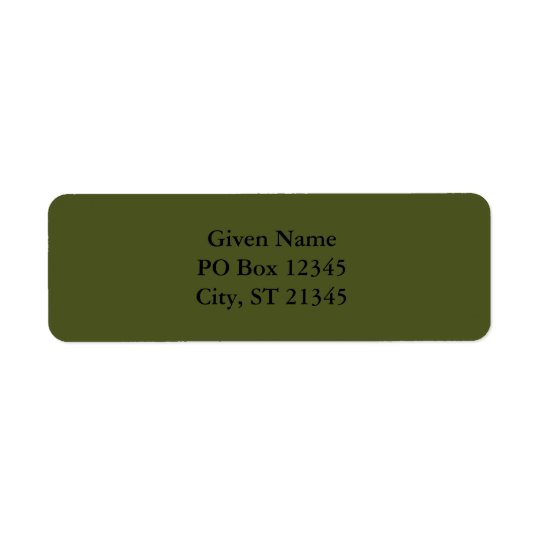 Army Green Return Address Label