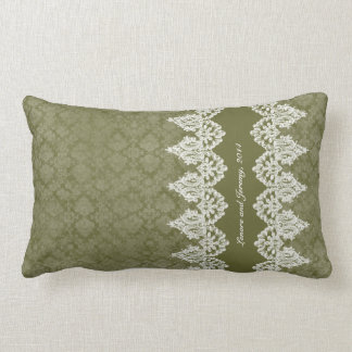 Army Green Vintage Shabby Lace Look Personalized Lumbar Cushion