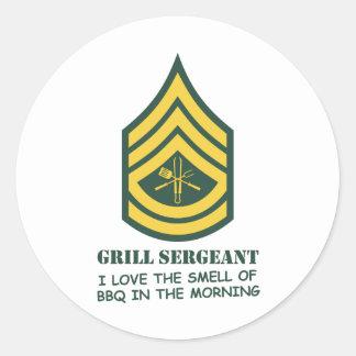 Army Grill Sergeant Round Sticker