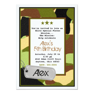 Army Invitations, MilitaryInvitations, Camouflage Card