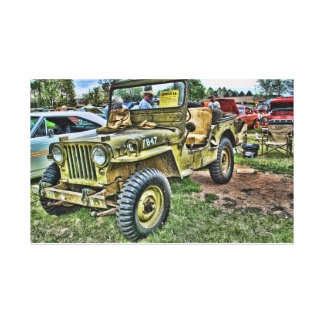 Army Jeep Stretched Canvas Prints