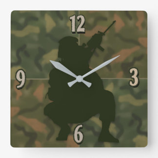 Army Kid's Clock - Camo and soldier