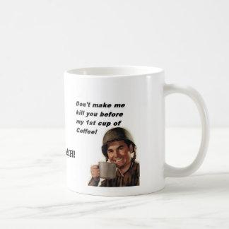 army man coffee, TXSG flags, HOOAH! Basic White Mug