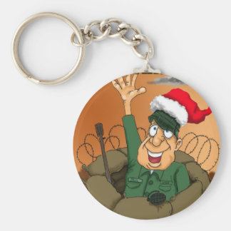 Army Man Waving with Santa Hat Key Chain