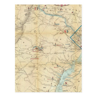 Army Map of The Seat of War In Virginia Postcard