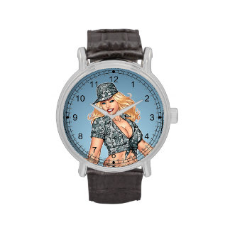 Army Military Pinup Girl in Camo by Al Rio Wristwatch