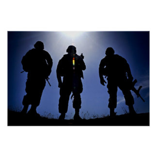 Army Military Soldier Silhouettes Poster