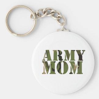 Army Mom Basic Round Button Key Ring