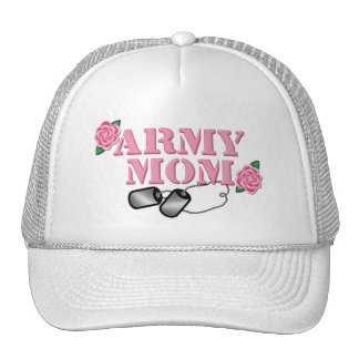 Army Mom Pink Roses N Dog Tags Trucker Hat