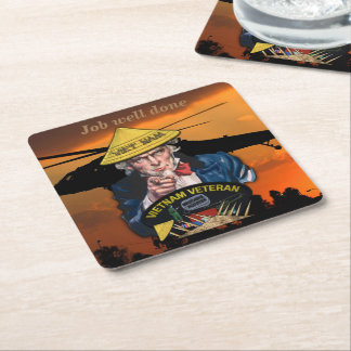 Army Navy Air Force Marines Vietnam Nam War vets Square Paper Coaster