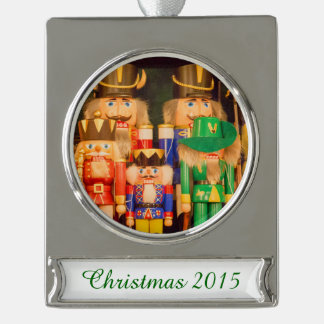 Army of Christmas Nutcrackers Silver Plated Banner Ornament