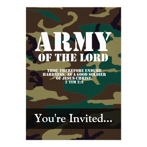 Army of the Lord, Bible Scripture Camo Personalized Invitations