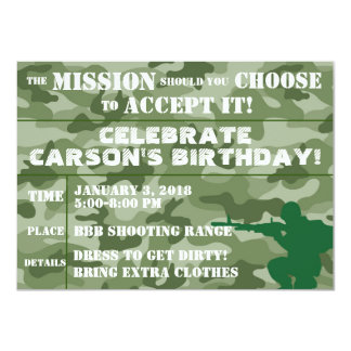 ARMY PARTY INVITATION, PAINTBALL PARTY INVITATION