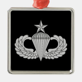 Army Senior Jump Wings Silver-Colored Square Decoration