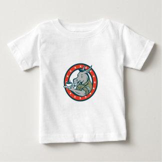 Army Sergeant Donkey Coffee Circle Cartoon Baby T-Shirt