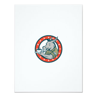 Army Sergeant Donkey Coffee Circle Cartoon Card