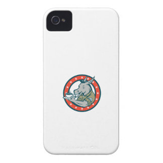 Army Sergeant Donkey Coffee Circle Cartoon Case-Mate iPhone 4 Cases