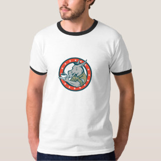 Army Sergeant Donkey Coffee Circle Cartoon T-Shirt