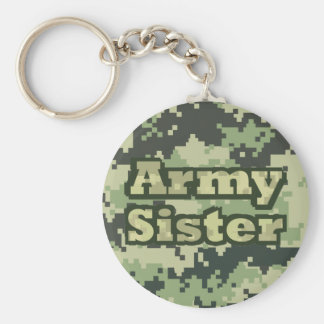 Army Sister Basic Round Button Key Ring