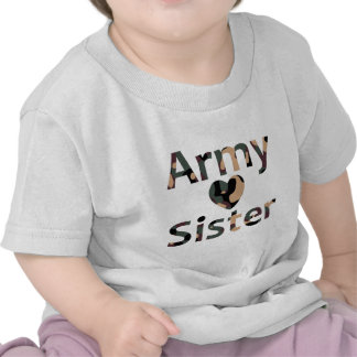 Army Sister Heart Camo Tee Shirts