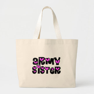 Army Sister Pink Hearts Canvas Bags