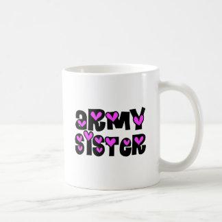 Army Sister Pink Hearts Mugs