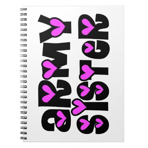 Army Sister Pink Hearts Spiral Notebook