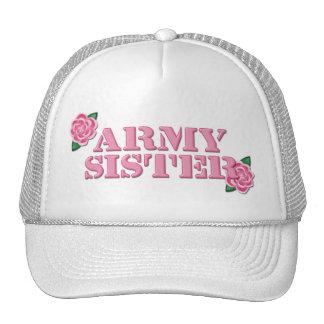 Army Sister Pink Roses Mesh Hats