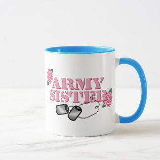 Army Sister Pink Roses N Dog Tags Mug