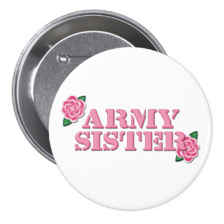 Army Sister Pink Roses Pinback Button