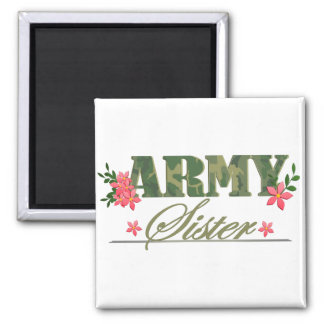 Army Sister Square Magnet