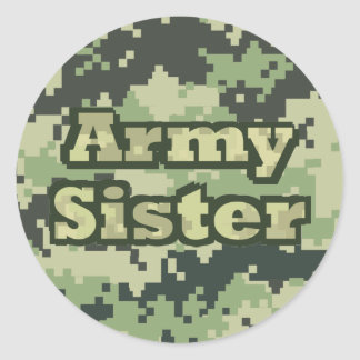 Army Sister Round Stickers