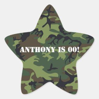 Army themed Birthday Party Star Sticker