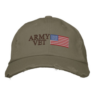 Army Vet with American Flag Patriotic Military Embroidered Cap
