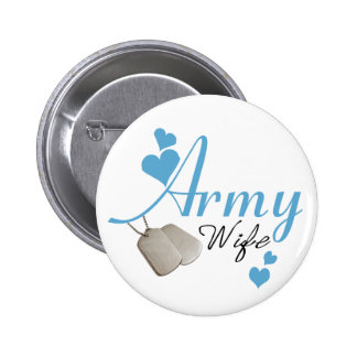Army Wife blue Button