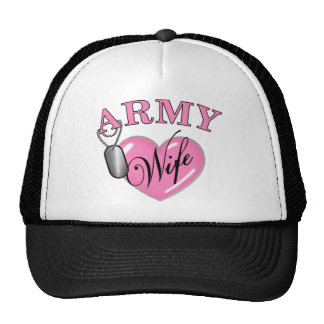 Army Wife Heart N Dog Tag Hats