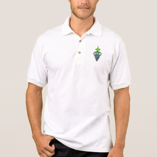 Arnie robot, blue and green polo shirt