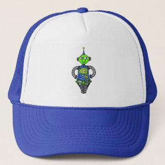 Arnie robot, blue and green trucker hat
