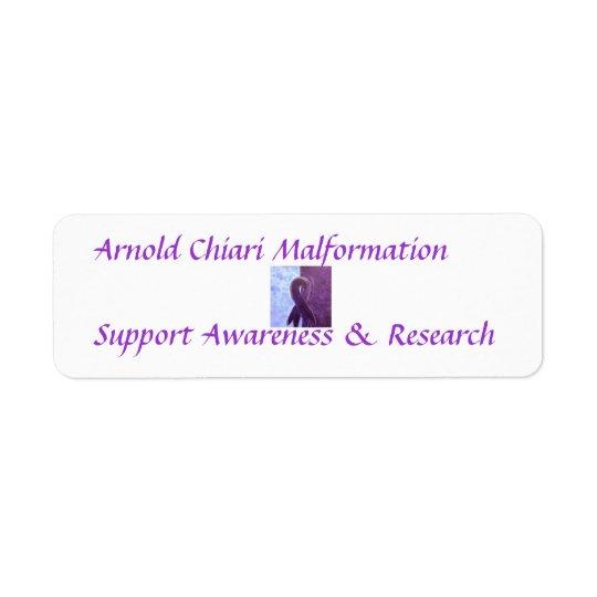 Arnold Chiari Malformation Support Awareness Return Address Label