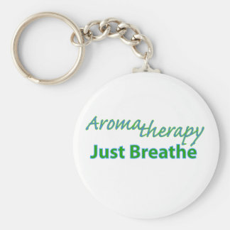 Aromatherapy - Just Breathe Basic Round Button Key Ring