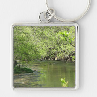 Around the Bend Silver-Colored Square Key Ring