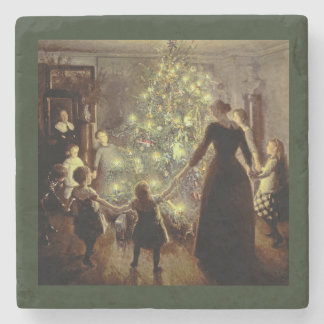 Around the Christmas Tree Stone Coaster