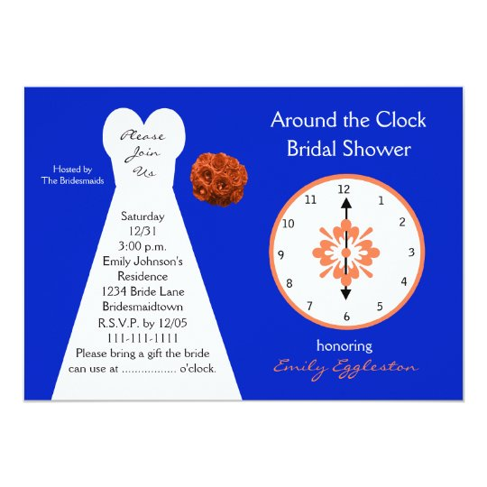 Around the Clock Bridal Shower Invitations -- Blue